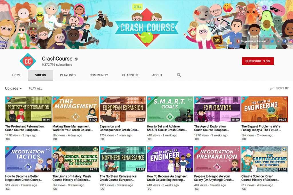 Crash Course YouTube Channel for Unschooling and Homeschooling Kids