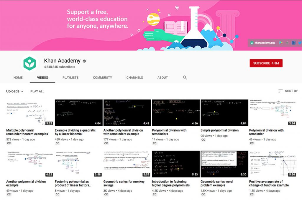 Khan Academy YouTube Channel for Unschooling and Homeschooling Kids
