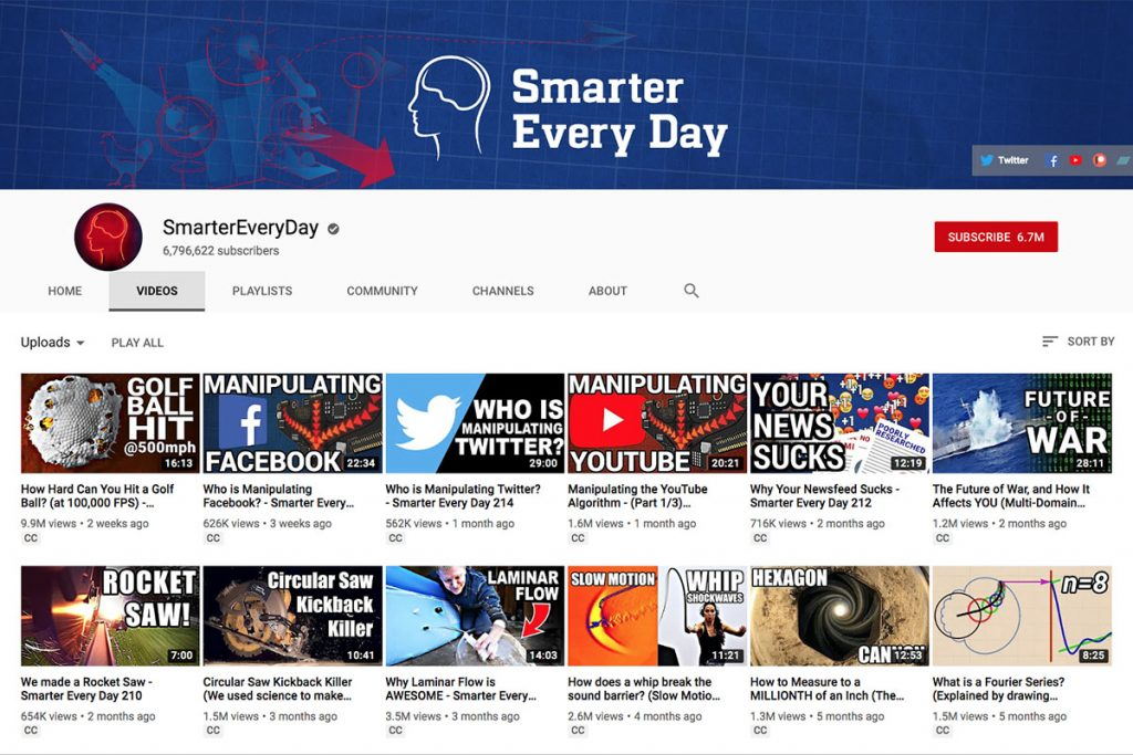 Smarter Every Day YouTube Channel for Unschooling and Homeschooling Kids