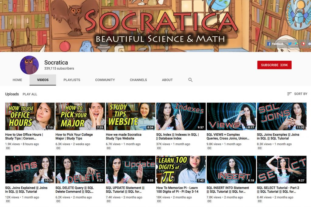 Socratica YouTube Channel for Unschooling and Homeschooling Kids