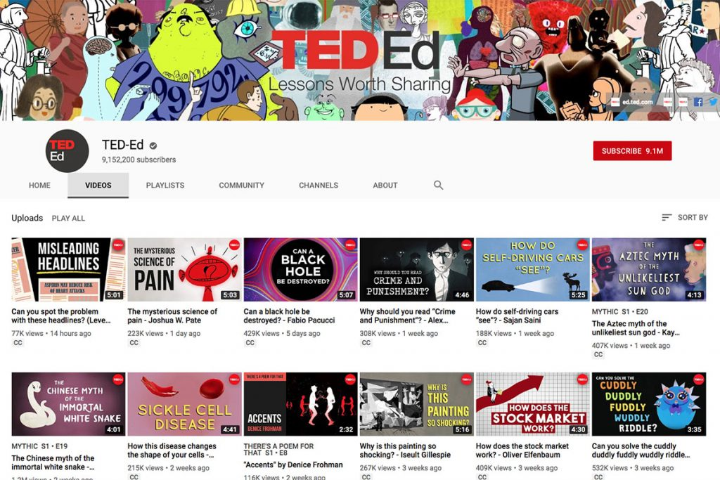 Ted-Ed YouTube Channel for Unschooling and Homeschooling Kids