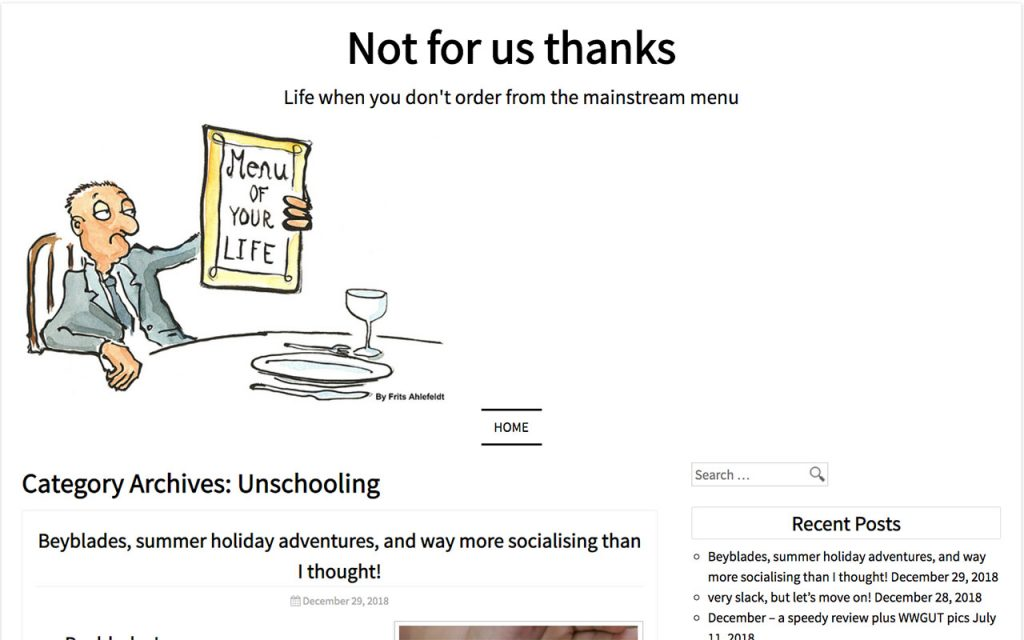 Not For Us Thanks : Unschooling Blog You Should Follow